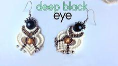 Macrame earring tutorial: The deep black eye - Macrame jewelry set