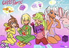 Girls party by EZstrongs on DeviantArt Video Game Characters, Anime Characters, Nintendo Super Smash Bros, Video Game Companies, Kid Cobra, Arm Art, Video Games Girls, Cute Comics, Disney Cartoons