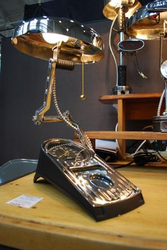 Desk lamp made from Harley Parts
