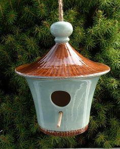 Hangende keramische Bird House  Frans blauw met door ceramicsbylisa
