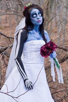 "This is my live interpretation of Tim Burton's film ""The Corpse Bride"" to achieve this look I used M.A.C Pro Acrylic Paints, Mehron paints, and other various products listed below....    http://hillaryhuntmua.blogspot.com  https://www.facebook.com/HillaryHuntMUA"
