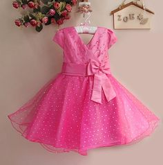 New Year Baby Girl Party Dress Hot Pink Kids Princess Dress With Bow 6PCS/LOT Kids holiday dresses for girlsGD21025-01H^^HK $76.68