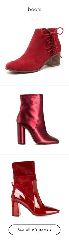 """boots"" by harthkai on Polyvore featuring shoes, boots, ankle booties, ankle boots, red, round toe ankle boots, velvet boots, red ankle boots, red high heel boots and chunky heel bootie"