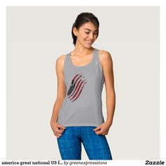 america great national US flag star stripes design Tank Top