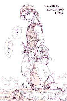 Young Daryun takes baby Arslan to a walk, Arslan Senki fanart