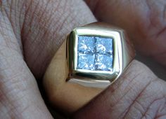 Diamond Gold Mens Ring Princess Cut Fathers Day 18kt 19gram Buy now at Victorian Rose Prints on rubylane.com