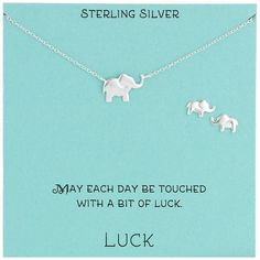 Sterling Silver Elephant Necklace and Earrings Jewelry Set, 18.5