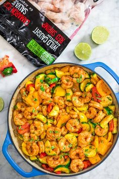 This Easy Shrimp and Vegetable Skillet makes a healthy, quick, and delicious dinner! Packed with wild-caught shrimp, tender zucchini, and sweet bell peppers Shrimp Recipes Easy, Raw Food Recipes, Seafood Recipes, Diet Recipes, Cooking Recipes, Healthy Recipes, Lobster Dishes, Shrimp Dishes, Shrimp And Vegetables