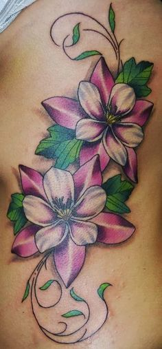 Awesome Color Flowers Tattoo