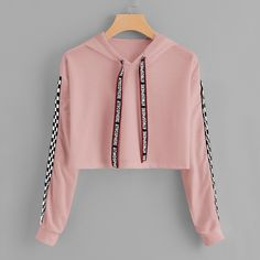 Hooded Sweatshirt Outfit for Women, Print Hooded Sweatshirt – Drawstring Hoodie Plaid Sweatshirt – Sweatshirt Cute Comfy Outfits, Cute Girl Outfits, Pretty Outfits, Stylish Outfits, Girls Fashion Clothes, Teen Fashion Outfits, Mode Outfits, Fashion Women, Teenage Outfits