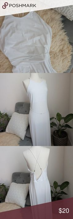 "Francisco Costa for Calvin Klein white maxi dress Gorgeous dress in great condition. Has a few spots near the back. Back zip  Measurements: P2P: 16"" L: 54"" Calvin Klein Dresses Maxi"