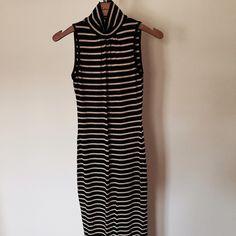 Black striped high neck maxi dress Deep v back, never worn Dresses Maxi