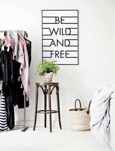 Be Wild And Free Uplifting Black & White by lettersonlove on Etsy