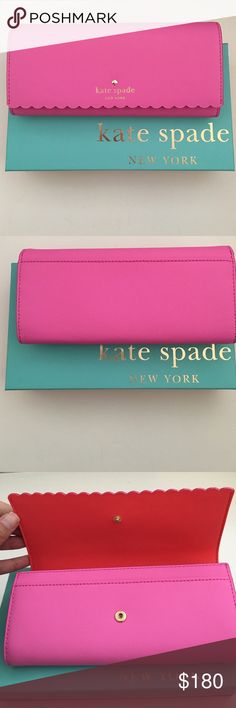 Kate Spade Cindy Wallet Style: Cape Drive Cindy Scalloped Saffiano Leather Wallet.                                                                          Brand new with original tags. Never used. Sold out style & color. Comes with original box & tags. No trades. Will consider reasonable offers! Kate Spade Bags Wallets
