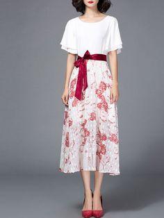 Printed Paneled Bow Midi Dress