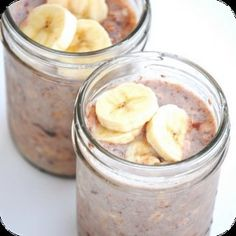 Nutella Banana Make-ahead, No-cook refrigerator Oatmeal: 1/4 cup uncooked old fashioned oats  1/4 cup skim milk  1/4 cup low fat yogurt  Half a banana – cut up  1 large spoonful of nutella  Add all ingredients to your jars. Put the lid on the  | followpics.co