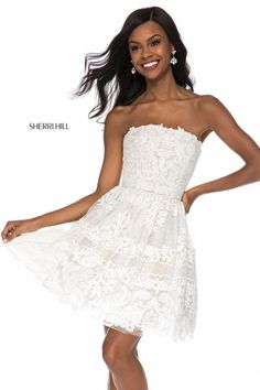 Shop prom dresses and long gowns for prom at Simply Dresses. Floor-length evening dresses, prom gowns, short prom dresses, and long formal dresses for prom. Sherri Hill Short Dresses, Strapless Homecoming Dresses, Strapless Cocktail Dresses, Strapless Dress Formal, Formal Dresses, Lace Dresses, Pageant Dresses, Lace Skirt, Wedding Dresses