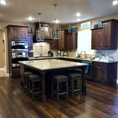 Open Kitchen And Living Room, Home Decor Kitchen, Kitchen Ideas, Kitchen Island Ideas With Table, Kitchen Island With Stove, Mobile Home Kitchens, Brown Kitchens, Cool Kitchens, Cherry Wood Kitchens