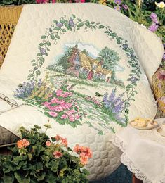 I love this! Hollyhock Cottage Quilt Stamped Cross Stitch Kit-34 X43