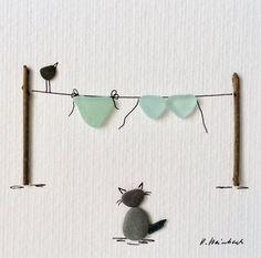 Bikini picture blue, cat picture, stone image, Pebble art, Seaglass art picture, Pebble art cats, gift, beach Pebbles
