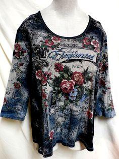 Dressbarn EUC Plus Size Gorgeous Elegant Floral Print Decorative Top 1X #Dressbarn #KnitTop