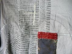 sweetpeapath:  Grey shirt (work in progress) by Christine Mauersberger Recycled cotton shirt, velvet and hand stitching