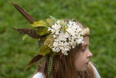 White Flower Woodland Wedding Crown/ Woodland Elf Crown/ Woodland Fairy Crown/ Woodland Fairy Costume/ Woodland Elf Crown/ Woodland Queen