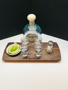 """Walnut """"It's Tequila Time"""" Engraved Serving Tray Set with Salt Shaker, Bowl, & 4 Heavy Base Shot Glasses - Tequila Gift Set - Housewarming Tequila Tasting, Whisky Tasting, Wine Tasting, Serving Trays, Serving Ideas, You And Tequila, Tasting Table, Thirsty Thursday, Scotch Whisky"""