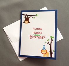 Happy Birthday Jungle Friends Juvenile Greeting Card Notecard Stationery Single Card on Etsy, $3.25