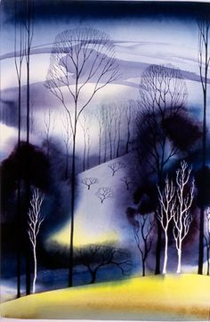 "Eyvind Earle, ""Yellow Field"". He was the artist that did the styling, backgrounds, and coloring of Disney's ""Sleeping Beauty"""