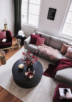 Related posts: Deeply Living Room Furniture Classic 9 Great Ideas of Living Room Apartment Decor Ideas to Copy on Yourself Bohemian Interior Design, [. Living Room Sofa, Home Living Room, Apartment Living, Living Room Designs, Red Living Room Decor, Cozy Living, Grey Living Room With Color, Burgundy Living Room, Maroon Living Rooms