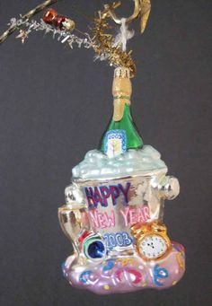Christopher Radko 2003 New Year Ornament Sparkling Champagne Bottle Retired - COUPON AVAIL, Christmas in July on Bonanza! #cshort0319