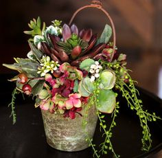 Spring Floral Arrangement  Artificial Succulent by QueenBeeWreath, $42.00