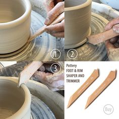Pottery FOOT & RIM Shaper with Trimmer, Shape Trim Slicing Bottom of Pot, Wheel Throwing Tools, bowls cups vases cylinder foot from PotteryAndClay on Etsy Studio Ceramic Tools, Clay Tools, Ceramic Clay, Ceramic Artists, Ceramic Pottery, Ceramic Supplies, Pottery Tools, Pottery Classes, Pottery Wheel
