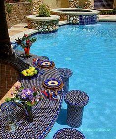 Mosaic Swimming Pool with swim up bar...love it!