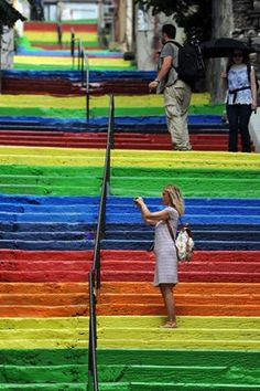 Turkey - silent protest all over the country by painting public stairways into bright rainbow colours.