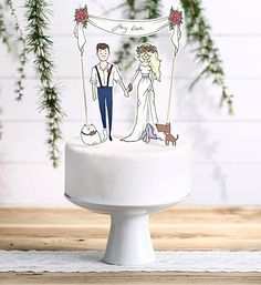 """Tortenaufleger """"My Love"""" mit Soggetti in Carta - Guestbook, Cake topper & Wedding - Wedding Cake Decorations, Wedding Cake Toppers, Wedding Themes, Wedding Cakes, Guestbook, Wooden Easel, Un Cake, Paper Lanterns, Just Married"""