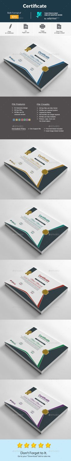 Certificate Template PSD, Vector EPS, AI Illustrator