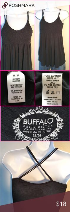 BUFFALO Black Smocked Tank BUFFALO black tank top with smocking at the bust. Double spaghetti straps crisscross in back. 96% viscose and 4% spandex. Made in USA. Excellent condition! 66201618 Buffalo Tops Tank Tops