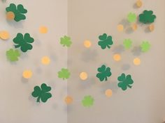 St Patricks Day Decorations Shamrocks Gold Coins Garland Paper Garland Happy St Pattys Day Luck of the Irish Ireland Decor Photo Prop St Patricks Day Decorations  Shamrocks Gold by ClassicBanners