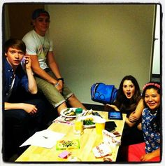 """Ross Lynch's mom (Stormie Lynch) posted this nice picture of Ross with his """"Austin & Ally"""" co-stars, Laura Marano, Raini Rodriguez and Calum Worthy, Calum Worthy, Austin Moon, Raini Rodriguez, Casting Pics, Bridgit Mendler, Teen Beach, Laura Marano, Austin And Ally, Amazing Songs"""