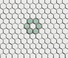 White and light green 1 x 1 glazed porcelain mosaic hex tile Rosette pattern from the Lyric Retro Hexagon Tile Pattern Collection Hexagon Mosaic Tile, Mosaic Tile Designs, Hex Tile, Subway Tile, Penny Tile Floors, Mosaic Tile Supplies, Tile Patterns, Decoration, Kitchen Remodeling