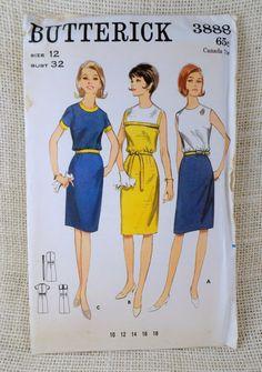 Vintage Pattern Butterick 3888 1960s shift by momandpopcultureshop