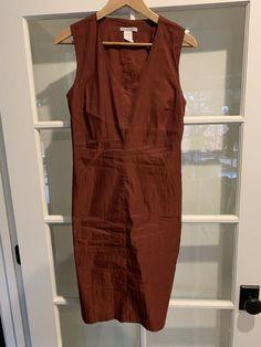 Sarah Pacini Size Small Dress Brick Linen V Exposed Zipper Neck Sleeveless Midi Belted Dress, Gray Dress, Bodycon Dress, Comfy Usa, Sarah Pacini, Brick, Zipper, Summer Dresses, Ebay