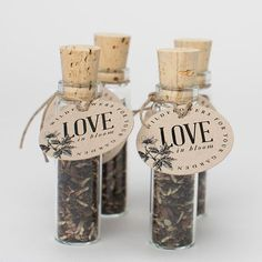 Wedding Favor  These wildflower seed favors are the perfect parting gift for your guests. Sold in sets of 12, they are a sweet little something guests can take home and plant in their gardens so they will always remember your love in bloom.  - 12 glass bottles with wildflower seed - 3.5H x .75D (without cork, bottle is 2.75H) - 12 tags and twine for completing assembly yourself