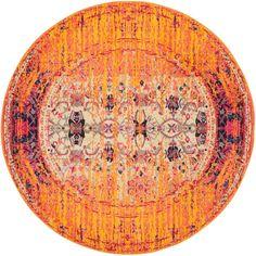 Monaco Orange/Multi 5 ft. x 5 ft. Round Area Rug