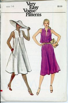 Vogue 7684 Misses 1980s Dress Pattern Flared Wing Collar Tent Dress Neckline Slit Cutaway Armholes Womens Vintage Sewing Pattern Bust 36. $10.00, via Etsy.