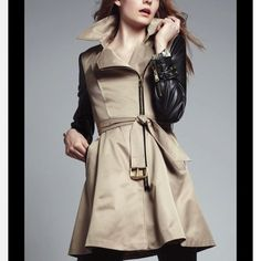 Bebe trench coat with leather sleeves Brand new with tags retails for 298 will go down on PayPal bebe Jackets & Coats Trench Coats