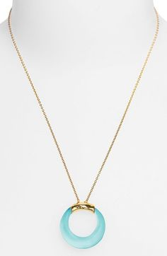 Open Circle Pendant Necklace in Light Turquoise