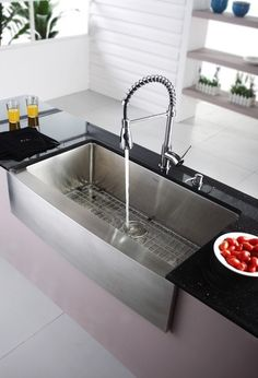 Stainless steel farmhouse sink modern kitchen sinks los modern kitchen sinks i really like this one workwithnaturefo